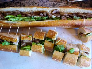 salty pork with sandwich